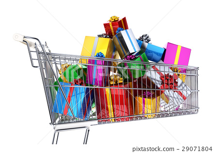 Supermarket trolley full of multicolored gifts. 29071804