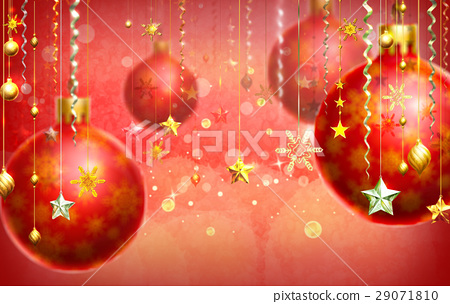Christmass red abstract background with several decorations hanging down and a few balls. 29071810
