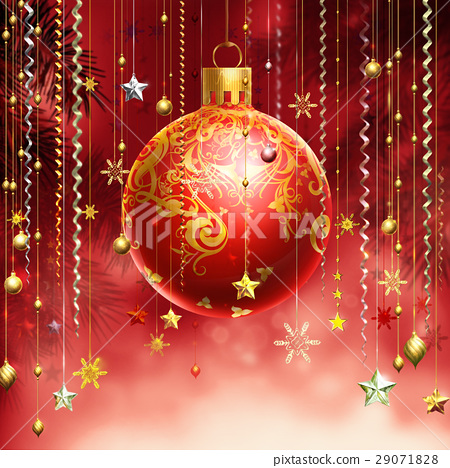 Christmass red abstract background with several decorations hanging down and a red decorated ball in the middle. 29071828