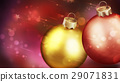 Christmass red abstract background with closeup of two balls in the foreground. 29071831