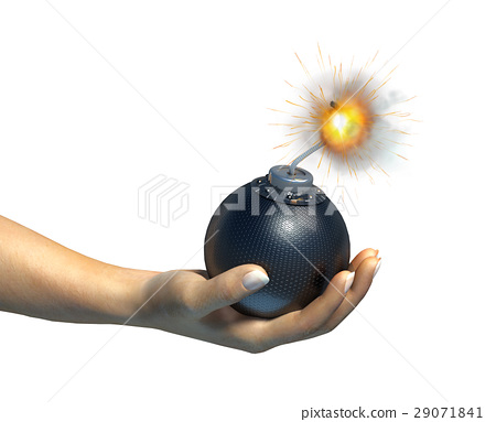Human hand holding a bomb with burning fuse, on white background. 29071841