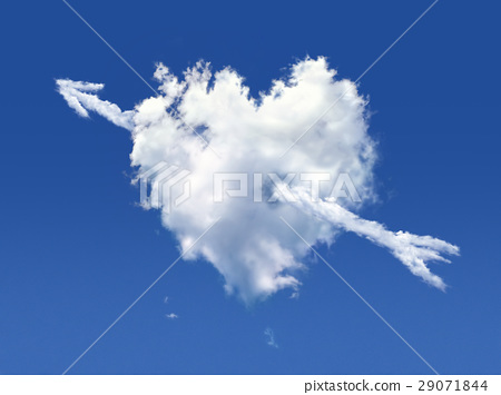Fluffy cloud of the shape of heart, on a deep blue sky. 29071844