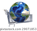 Planet Earth into supermarket trolley. Atlantic view. Souce maps offered by Nasa. 29071853