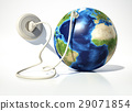 Planet Earth with electric cable, plug and socket. Source maps offered by Nasa. 29071854