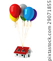 Group of multicolor balloons, lifting up a house. 29071855