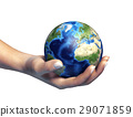 Human hand holding the planet earth, on white background. 29071859