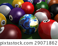 Poll table with balls and one of them as Earth. 29071862