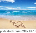 Heart with arrow, as love sign, drawn on the beach shore, with the see and sky in the background. 29071873