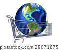 Planet Earth into supermarket trolley. Americas view. Souce maps offered by Nasa. 29071875