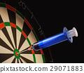 Dartboard with a medical syringe in center target. 29071883