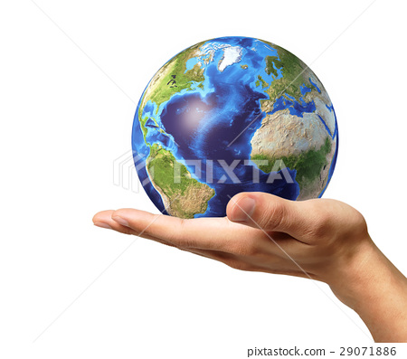 Man hand with earth globe on it. On white background. 29071886