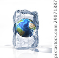 Earth globe into an ice brick standi on a white surface, with some water pool. 29071887