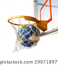 Planet earth falling into the basketball basket by a perfect shot. 29071897