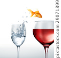 Gold fish smiling jumping from a glass of water, to a glass of red wine. 29071899