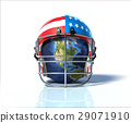 Planet Earth protected by an American football helmet, painted with stars and stripes. 29071910