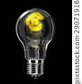 Light bulb with incandescent filament shaped as Euro symbol. 29071916