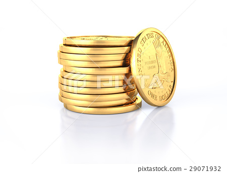 Gold dollar coins stack and one coin recumbent on it. 29071932