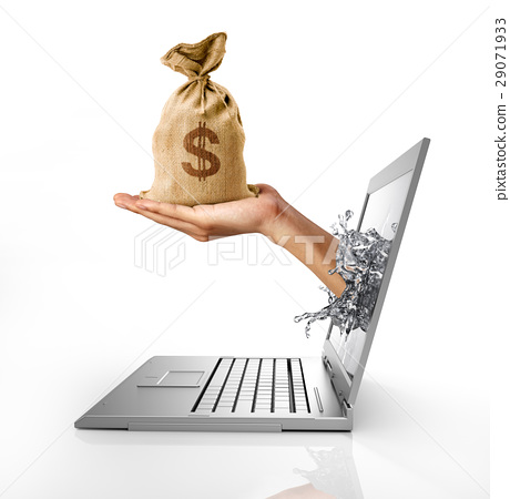 Human hand with a bag of US Dollars, coming out from computer screen. 29071933