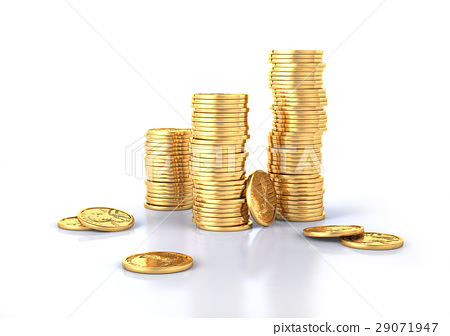 Gold dollar coins stacks and a few lose. 29071947