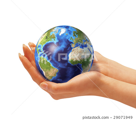 Woman's hands holding the earth globe. 29071949