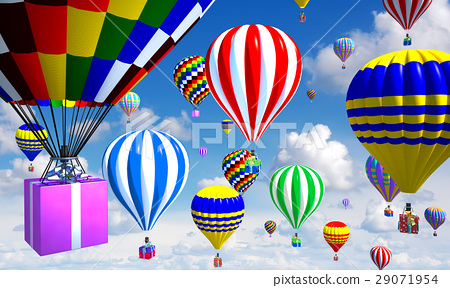 hot-air balloons in the sky, with gifts in place of the basket 29071954