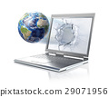 Earth globe, coming out from a laptop computer. Isolated on white background. 29071956