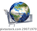 Planet Earth into supermarket trolley. Africa, Europe and Asia view. Souce maps offered by Nasa. 29071970