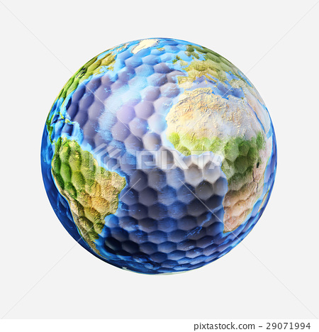 Golf ball isolated on white background, with earth planet map. (source maps offered by Nasa) 29071994