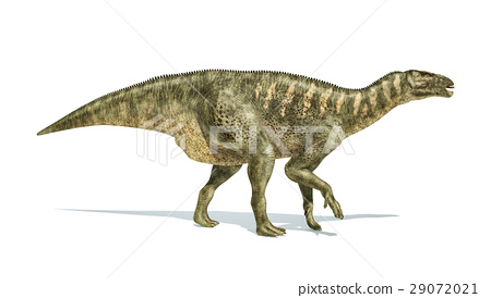 Iguanodon Dinosaur photorealistic representation, side view. 29072021