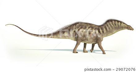 Photorealistic representation of an Amargasaurus dinosaur. Side view. 29072076
