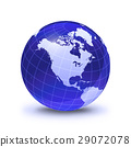 Earth globe stylized, in blue color, shiny and with white glowing grid. On white surface with dropped shadow. North America view. 29072078
