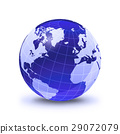 Earth globe stylized, in blue color, shiny and with white glowing grid. On white surface with dropped shadow. Atlantic Ocean view. 29072079