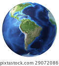 Earth globe, realistic 3 D rendering. South America view. 29072086
