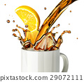 Pouring lemon tea splashing into a glass mug. 29072111