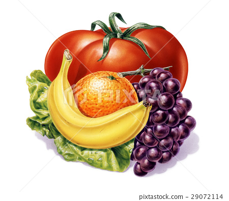 group of fruits and vegetables. 29072114
