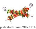 Two crossed skewers kebab with mixed mest and vegetables. 29072116