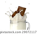 Two chocolate blocks falling into a glass mug full of fresh milk, splashing. 29072117