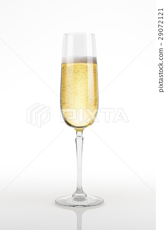 Champagne glass on white surface and background. 29072121