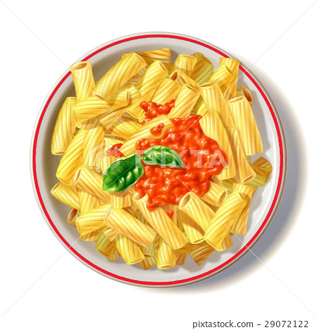 Macaroni plate with tomato sauce and basil, viewed from top. 29072122