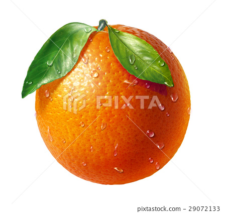 Orange fresh fruit with two leaves and water droplets, on white background. 29072133