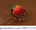 Strawberry falling into liquid chocolate splashing. 29072134