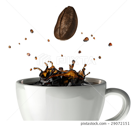 Coffee crown splash in mug. Close up view, with a bean falling down. 29072151