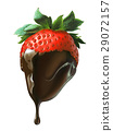 Strawberry half covered by liquid chocolate dripping. 29072157