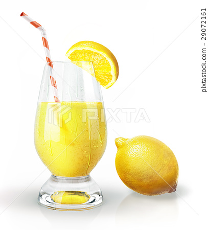 Lemon fruit and glass of juice with straw and clove. 29072161