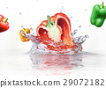 Sweet bell peppers multicolors falling and splashing into clear water. 29072182