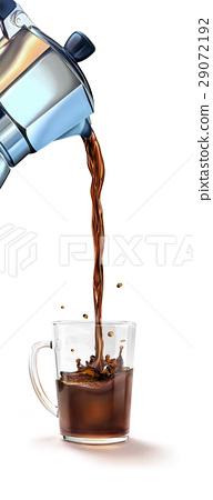 Moka coffee machine pouring coffee into a glass mug splashing. 29072192