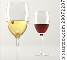 Two glasses of wine, one white and one red. 29072207