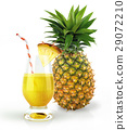 Pineapple and drink glass, with a fruit chunk and straw. 29072210