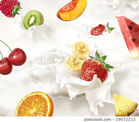 Various fruits falling into a sea of milk, causing splashes. 29072213