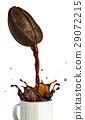 Huge coffee bean with hole pouring coffee into a mug splashing. 29072215